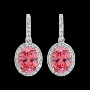ELLANI STERLING SILVER PINK CZ OVAL PAVE DROP EARRINGS