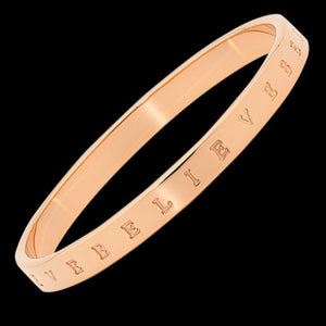 ELLANI STAINLESS STEEL ROSE GOLD IP 7MM BELIEVE BANGLE