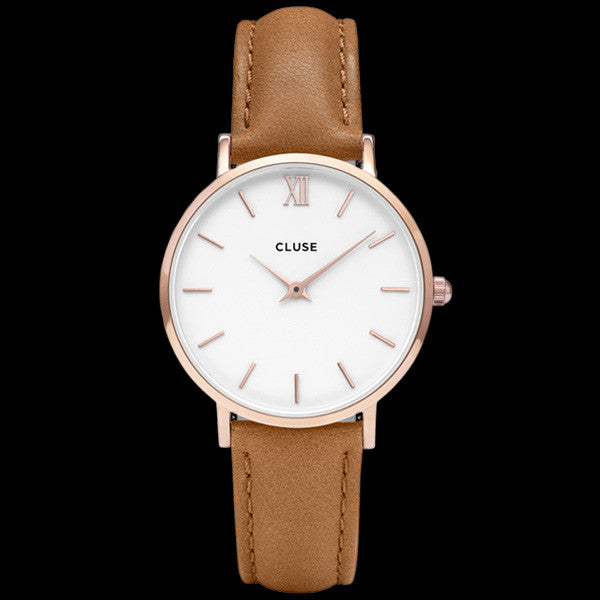 CLUSE MINUIT ROSE GOLD WHITE/CARAMEL WATCH
