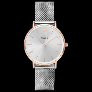 CLUSE MINUIT MESH ROSE GOLD/SILVER WATCH