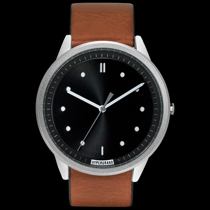 HYPERGRAND 02 SILVER BLACK HONEY LEATHER WATCH