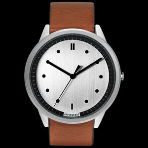 HYPERGRAND 02 SILVER CLASSIC HONEY LEATHER WATCH