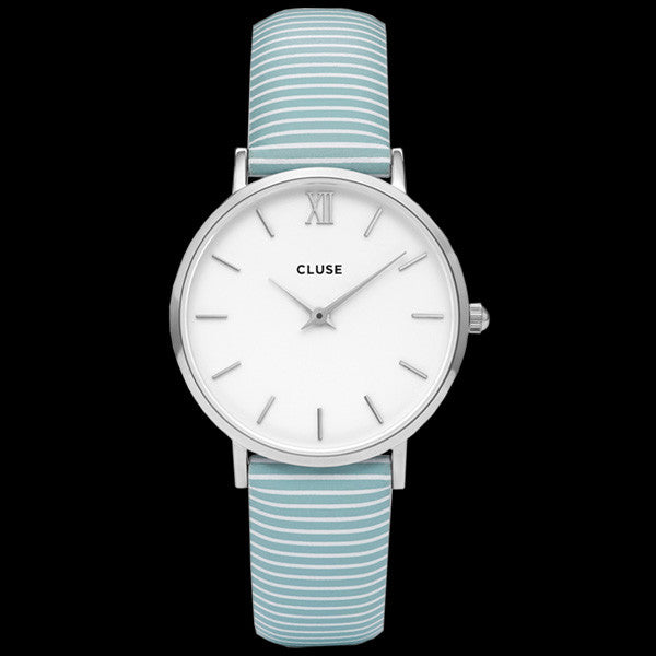 CLUSE MINUIT SILVER WHITE/SKY BLUE STRIPES WATCH