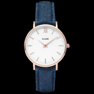 CLUSE MINUIT ROSE GOLD WHITE/DENIM WATCH
