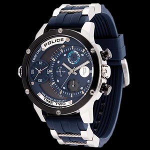 POLICE MEN'S ADDER BLUE DIAL SILICONE BAND WATCH