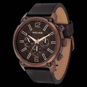 POLICE MEN'S ARMOR COPPER TONE BLACK LEATHER WATCH