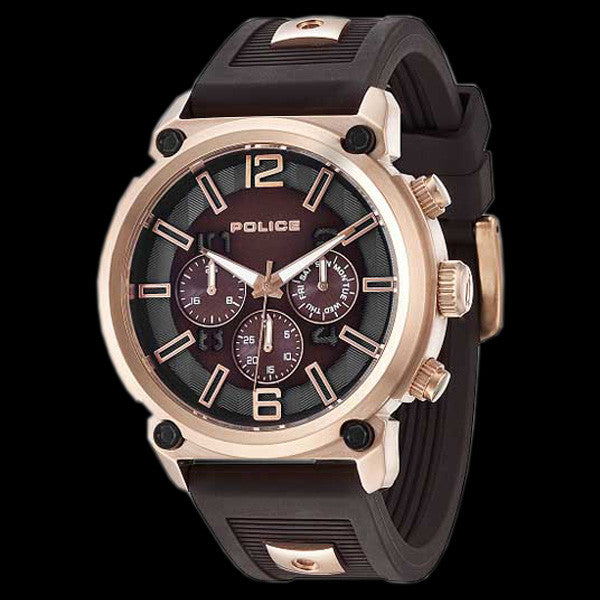 POLICE MEN'S ARMOR MULTI ROSE GOLD BROWN SILICONE WATCH