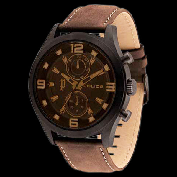 POLICE MEN'S CHIVALRY BLACK CASE BROWN LEATHER WATCH