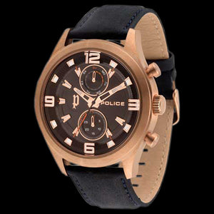 POLICE MEN'S CHIVALRY ROSE GOLD BLACK LEATHER WATCH