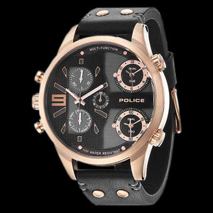 POLICE MEN'S COPPERHEAD ROSE GOLD BLACK LEATHER WATCH