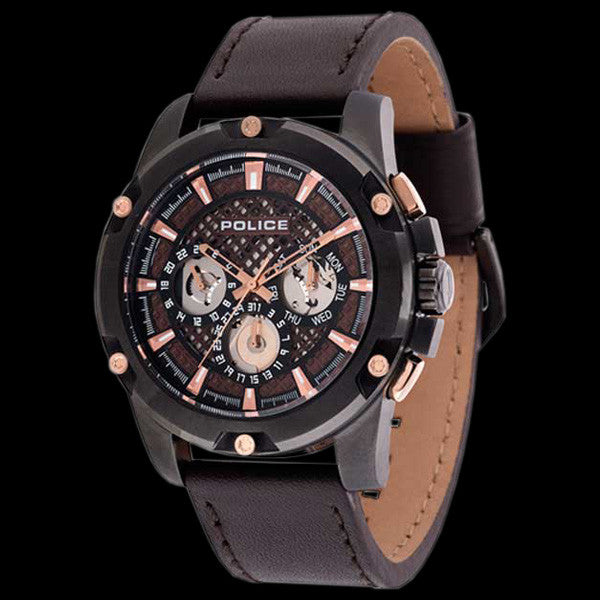 POLICE MEN'S GRID DARK BROWN LEATHER WATCH