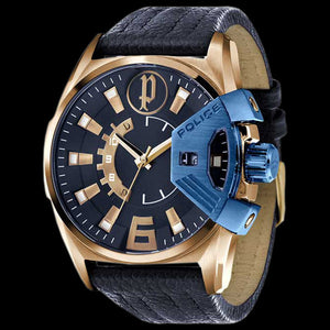 POLICE MEN'S KATAR GOLD BLUE LEATHER WATCH