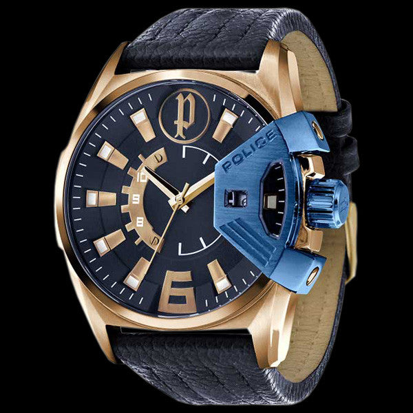 Police Men S Katar Gold Blue Leather Watch Silver Steel