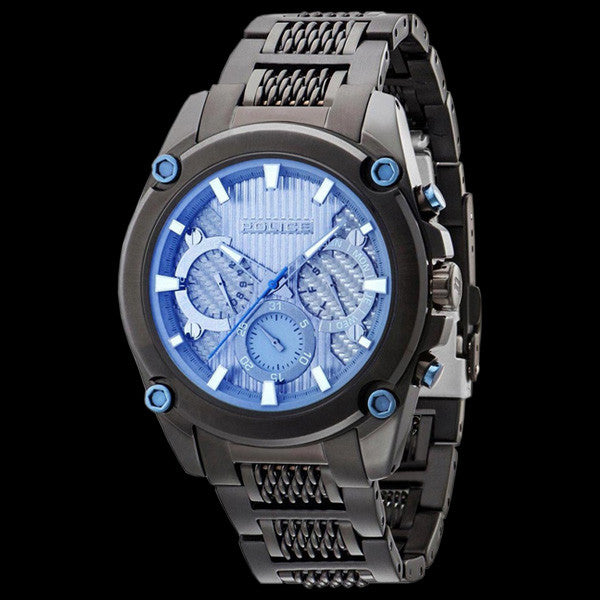 POLICE MEN'S MESH UP BLACK BLUE DIAL WATCH