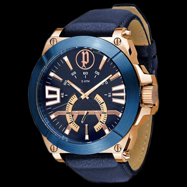 Police Men S Nucleus Rose Gold Blue Leather Watch Silver