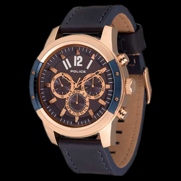 POLICE MEN'S SCRAMBLER ROSE GOLD BLUE LEATHER WATCH