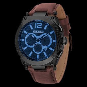 POLICE MEN'S SHOOTER BLUE DIAL CAMEL LEATHER WATCH