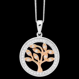ELLANI STERLING SILVER ROSE GOLD CZ SURROUND TREE OF LIFE NECKLACE