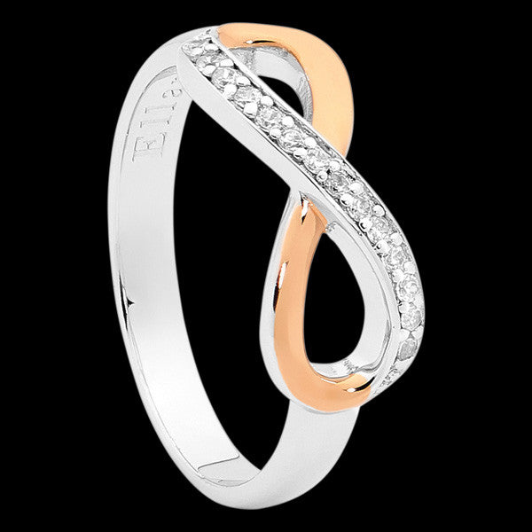ELLANI STERLING SILVER INFINITY CZ ROSE GOLD RING