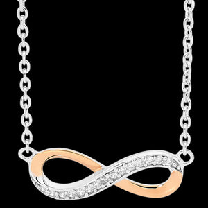 ELLANI STERLING SILVER INFINITY ROSE GOLD CZ NECKLACE