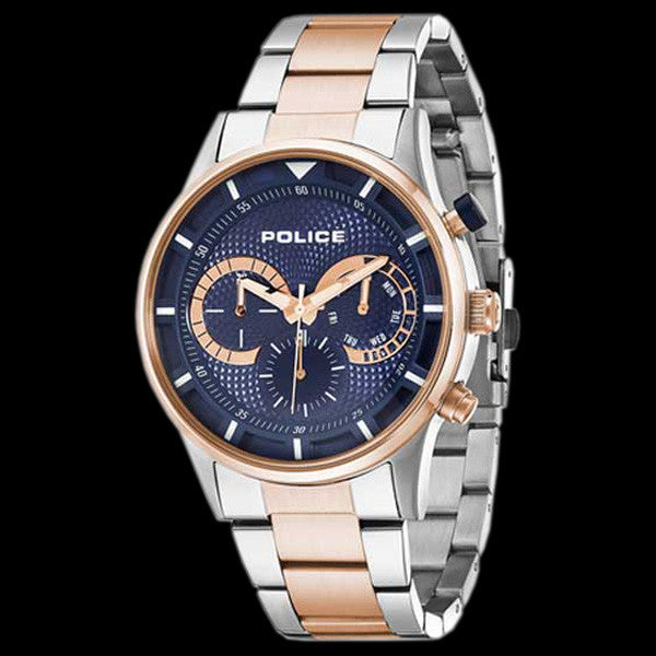 POLICE MEN'S DRIVER BLUE DIAL TWO-TONE WATCH