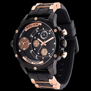 POLICE MEN'S ADDER BLACK ROSE GOLD WATCH