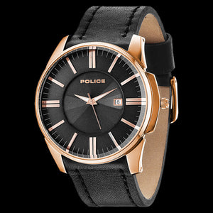 POLICE MEN'S GOVERNOR GOLD BLACK LEATHER WATCH