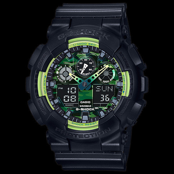 CASIO G-SHOCK BIG CASE BLACK & GREEN CAMO DIAL DUO GA100LY-1A WATCH