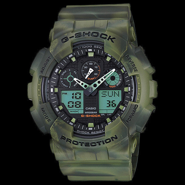 CASIO G-SHOCK BIG CASE MARBLE CAMOUFLAGE GREEN DUO GA100MM-3A WATCH