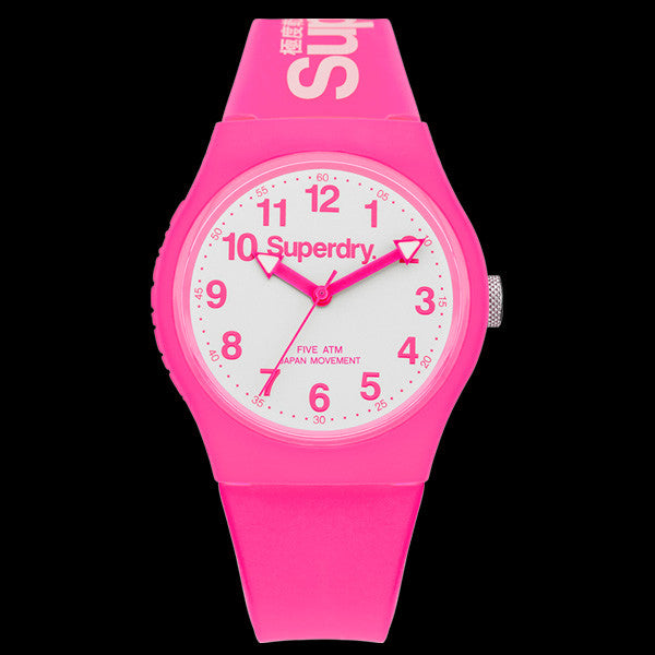 SUPERDRY URBAN WHITE PINK SILICONE WATCH