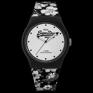 SUPERDRY URBAN FLORAL SILVER SILICONE WATCH