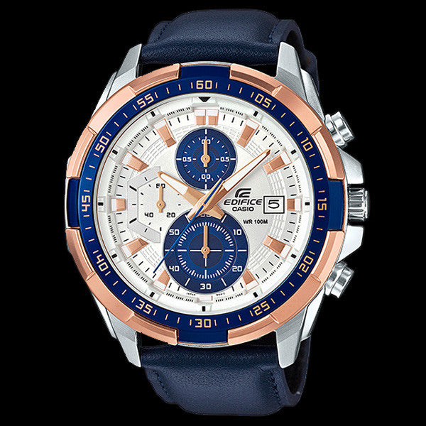 CASIO EDIFICE ROSE GOLD BLUE LEATHER CHRONOGRAPH WATCH EFR539L-7C