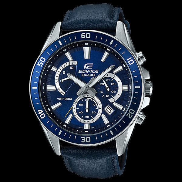 CASIO EDIFICE BLUE LEATHER CHRONOGRAPH WATCH EFR552L-2A