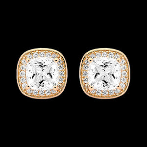 ELLANI STERLING SILVER CUSHION CZ PAVE HALO STUD EARRINGS