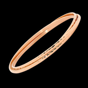 ELLANI STAINLESS STEEL ROSE GOLD HAMMERED RUSSIAN TRIO BANGLE
