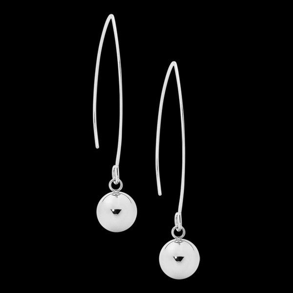ELLANI STAINLESS STEEL LONG DROP BALL HOOK EARRINGS