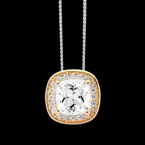 ELLANI STERLING SILVER ROSE GOLD CUSHION CZ PAVE HALO NECKLACE