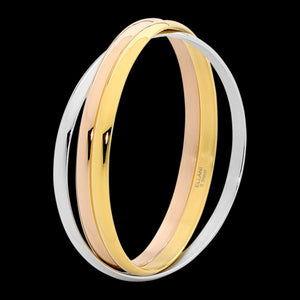 ELLANI STAINLESS STEEL 5MM RUSSIAN TRIO 3-TONE BANGLE