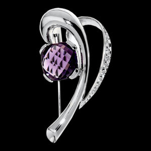 ELLANI STERLING SILVER PURPLE CZ PAVE BROOCH