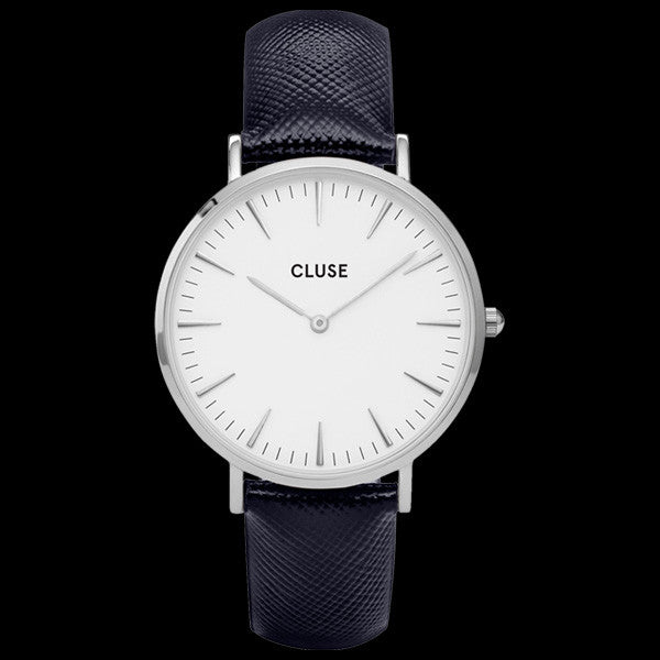 CLUSE LA BOHEME SILVER/WHITE MIDNIGHT BLUE WATCH