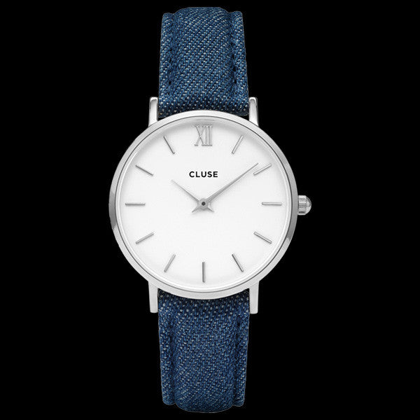 CLUSE MINUIT SILVER/WHITE DENIM WATCH