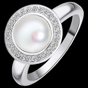 KAGI STERLING SILVER PEARL ORBIT RING