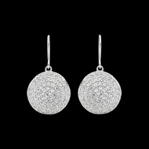 ELLANI STERLING SILVER 10MM PAVE CONVEX CIRCLE EARRINGS