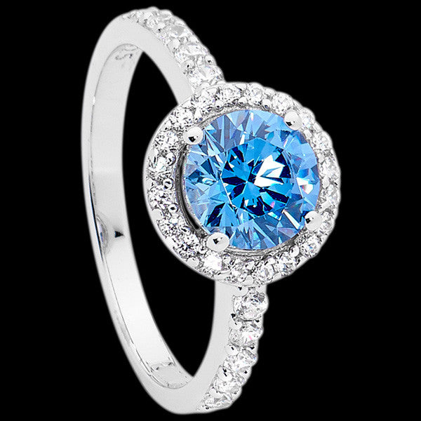 ELLANI STERLING SILVER HALO PAVE SWISS BLUE RING
