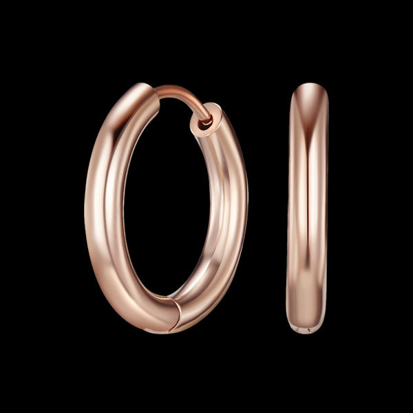 KAGI SMOOTH ROSE GOLD HUGGIE EARRINGS