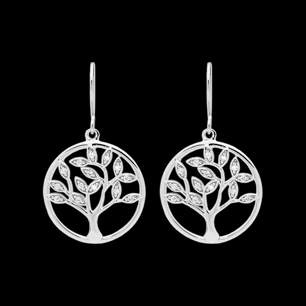 ELLANI STERLING SILVER TREE OF LIFE CZ EARRINGS