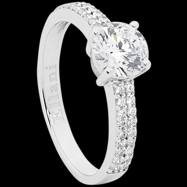 ELLANI STERLING SILVER ROUND CUT SOLITAIRE DOUBLE ROW PAVE RING