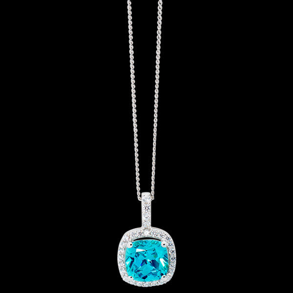 ELLANI STERLING SILVER CUSHION HALO AQUAMARINE NECKLACE