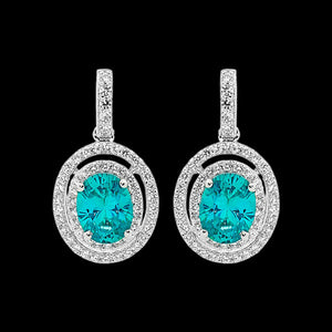 ELLANI STERLING SILVER DOUBLE HALO AQUAMARINE DROP EARRINGS