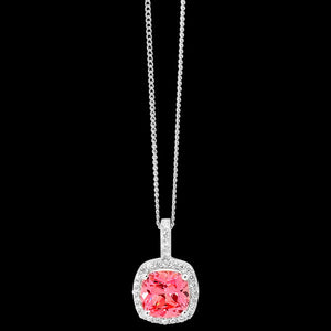ELLANI STERLING SILVER CUSHION HALO PINK NECKLACE